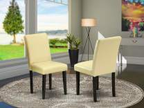 East West Furniture Parsons Dining Chairs - Comfortable Eggnog Faux Leather, Solid Wood Black Finish Legs Modern Living Room Dining Chair- Set of 2