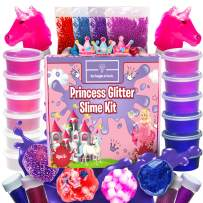 Princess Slime Kit for Girls - Bonus Unicorn Slime and Glow-in-The-Dark Slime Mixing Fun, 12 Colors - Stretchiest Slime Kit, Slime Charms, Crowns, Foam, Glitter, DIY Pink, Clear Slime, Toys for Girls