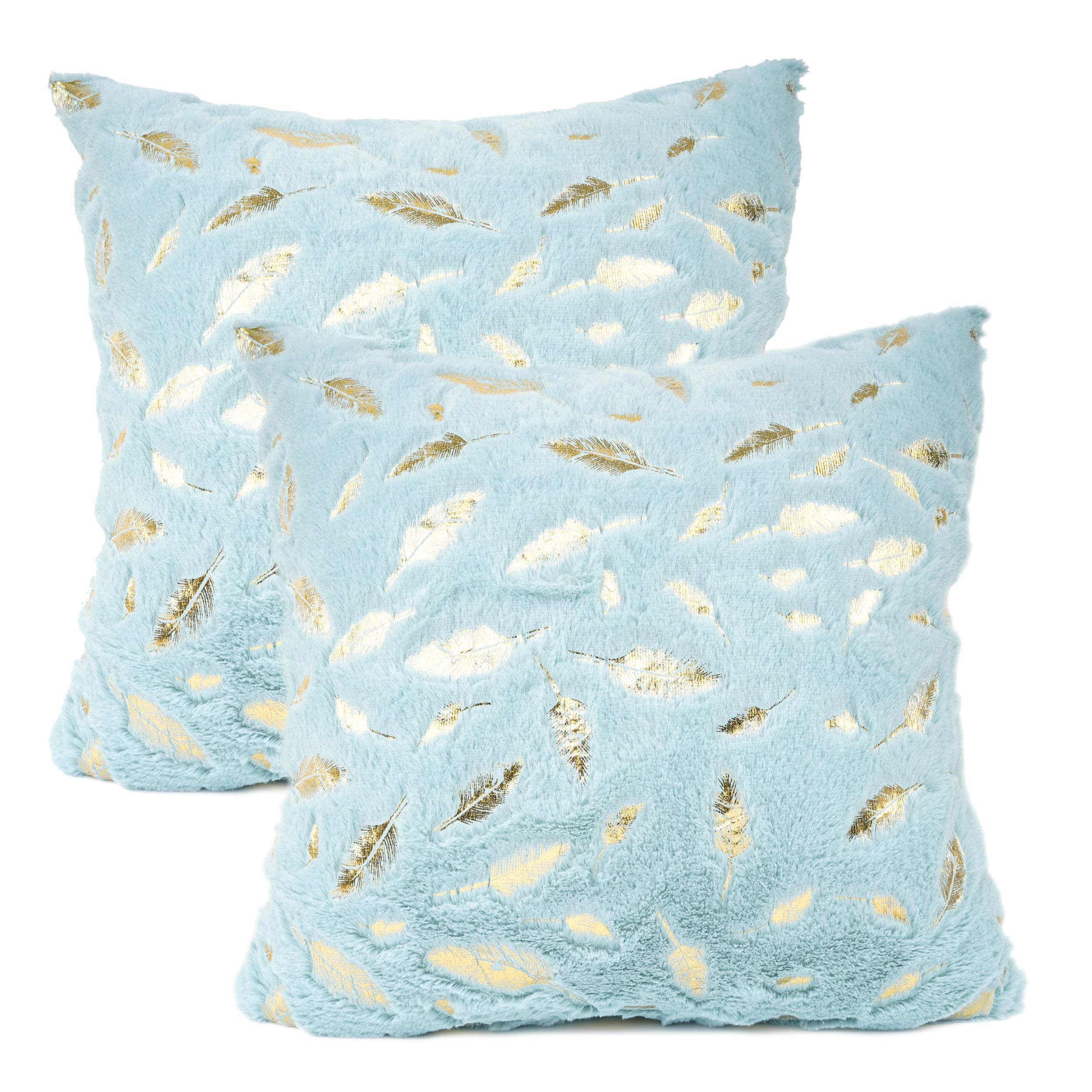 YOUR SMILE Pack of 2 Solid Color Gold Feather Plush Fur Decorative Throw Pillow Case Cushion Cover Pillowcase for Couch Sofa Bed,18 x 18 Inches,Teal