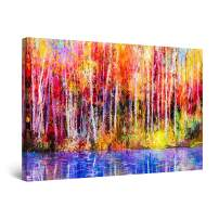 "Startonight Canvas Wall Art Abstract - Colored Landscape Forest Trees Poland Painting - Framed 24"" x 36"""
