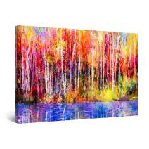 """Startonight Canvas Wall Art Abstract - Colored Landscape Forest Trees Poland Painting - Framed 24"""" x 36"""""""