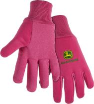 West Chester John Deere JD00003 Jersey Gloves - 10 oz Jersey Gloves for Youth, Ribbed Knit Wrist, Polyester/Cotton Fabric, Straight Thumb, Pink