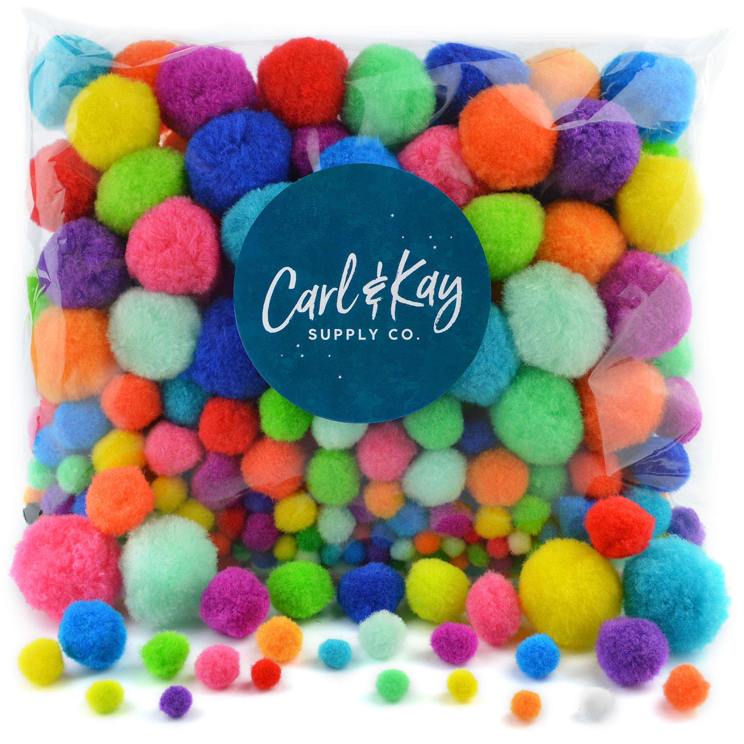 Carl & Kay [360 pcs] Assorted Size Pom Poms for Crafts, Creative Kid's Gift, Multi Colored Big Pompoms, Jumbo & Large Craft Pom Pom Balls