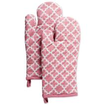 """DII Cotton Lattice Oven Mitts, 13 x 7"""" Set of 2, Machine Washable and Heat Resistant Baking Glove for Everyday Kitchen Cooking-Rose Pink"""