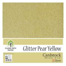 """Glitter Pear Yellow Cardstock - 12 x 12 inch - .016"""" Thick - 20 Sheets"""