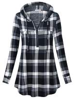 Messic Women's Zip V Neck Casual Lightweight Tunics Long Sleeve Plaid Shirts Tops