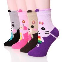 DoSmart Women's Super Soft Warm Cute Fuzzy Winter Crew Socks 4 Pairs (Animal A),One Size