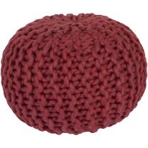 Surya 100-Percent Wool Pouf, 20-Inch by 20-Inch by 14-Inch, Cherry