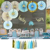YARA Elephant Baby Shower Decorations for Boy Kit Baby Boy Bunting Garland Banner Blue and Gold Party Supplies Paper Fans Its A Boy Tassels Rustic Boho