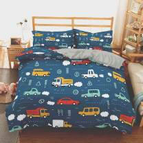 """WURUIBO King Duvet Cover Set Car Theme, 3 Pieces Bedding Set 104"""" 90"""" Duvet Cover and 2 Pillow Case 20"""" 30"""", Soft Microfiber Duvet Cover with Ties, No Filling"""