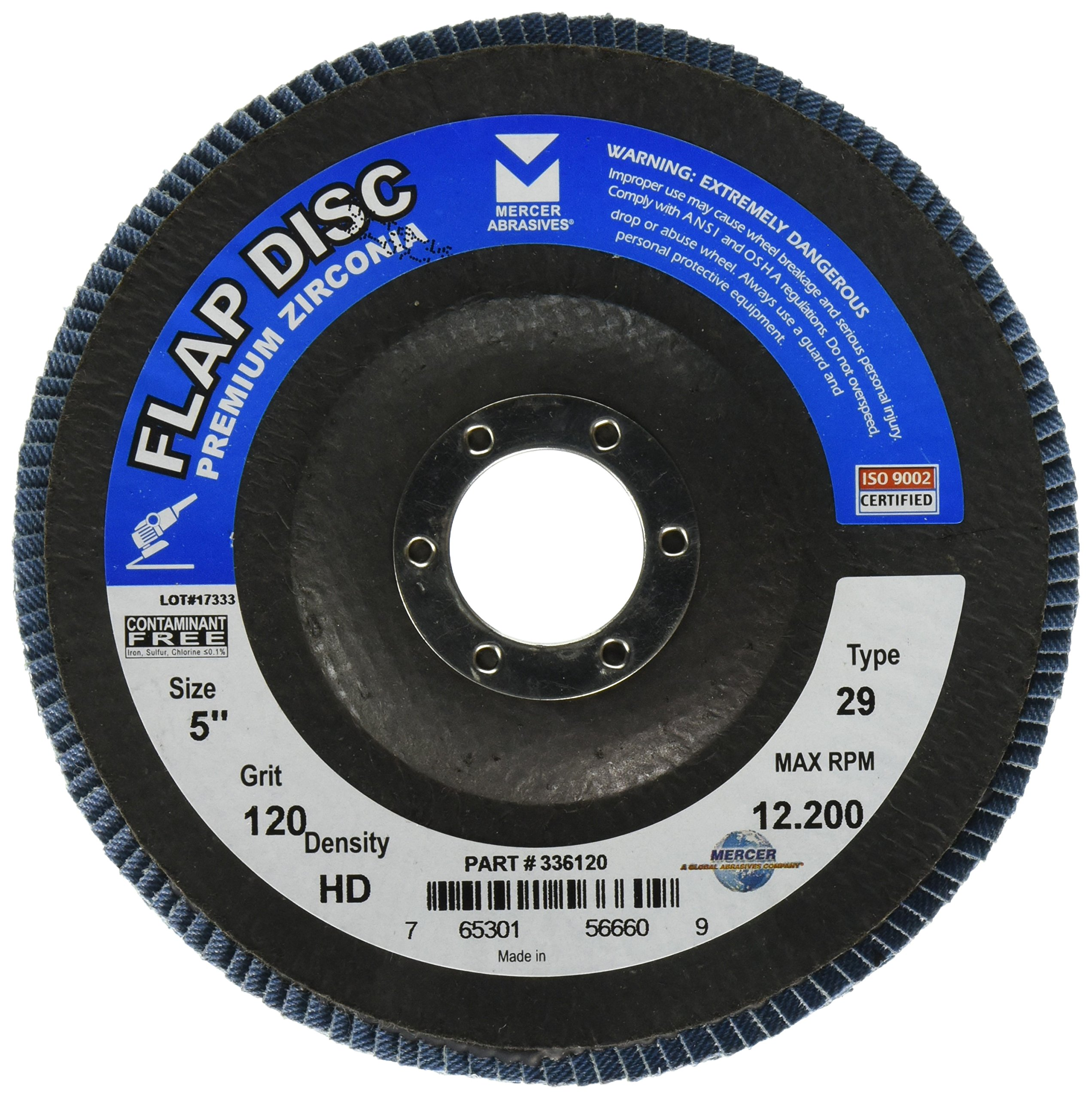 "Mercer Industries 336120 Zirconia Flap Disc, High Density, Type 29, 5"" x 7/8"", Grit 120, 10 Pack"