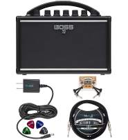 BOSS Katana Mini Amp 7W Solid State Amplifier Bundle with Blucoil Slim 9V 670ma Power Supply AC Adapter, 10-FT Straight Instrument Cable (1/4in), 2-Pack of Pedal Patch Cables, and 4x Guitar Picks