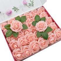 DerBlue 60pcs Artificial Roses Flowers Real Looking Fake Roses Artificial Foam Roses Decoration DIY for Wedding Bouquets,Arrangements Party Baby Shower Home Decorations-with Green Leaves(Pink)