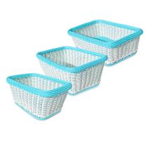 Colorbasket Hand Woven Waterproof Storage Basket, White/Blue