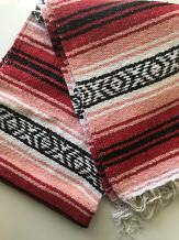 """Mexitems Mexican Falsa Blanket Authentic 52"""" X 72"""" Pick Your Own Color (Red/Pink/Black)"""