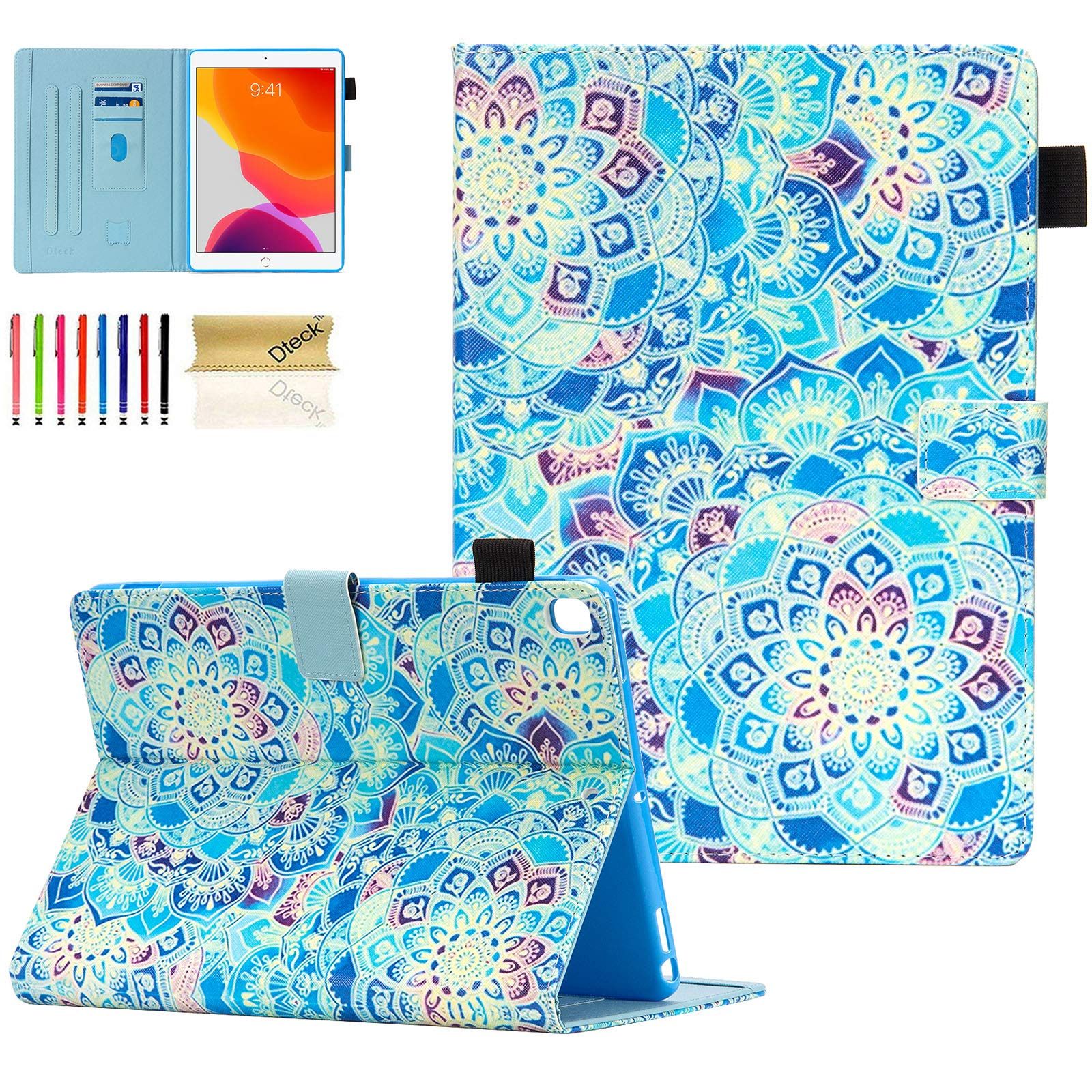 Dteck Kids Case for iPad 10.2 2019 - Slim Fit Premium PU Leather Folding Stand Smart Shockproof Cover with Pencil Holder, Auto Wake/Sleep, Wallet Pocket, Shade of Blue