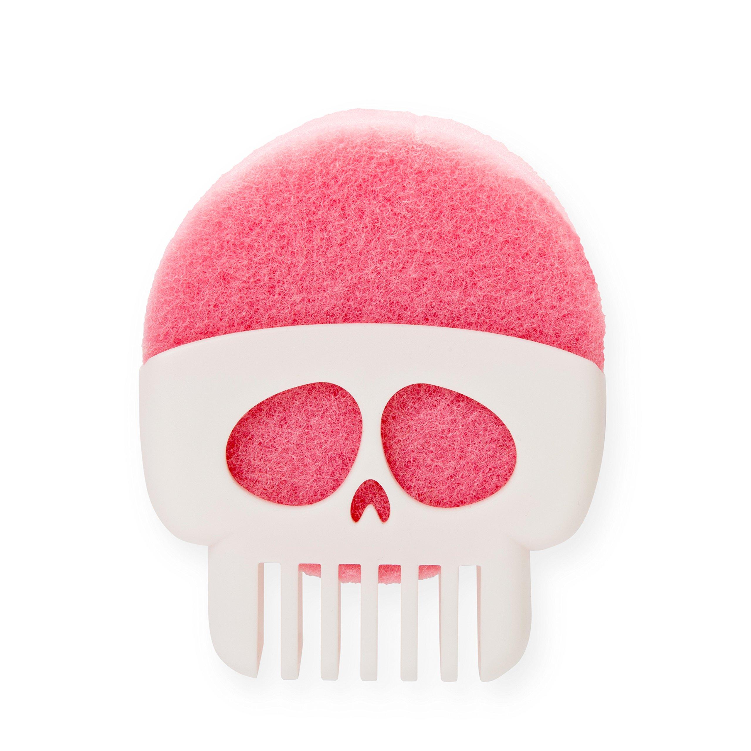 Peleg Design Brain Drain White Skull Sponge Holder for Kitchen, Bath, or Sink, Drains and Dries All Types of Sponges, 1 Sponge Included