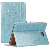 "ProCase Galaxy Tab A 10.1 Case 2016 Old Model, Stand Folio Case Cover for Galaxy Tab A 10.1"" Tablet SM-T580 T585 T587 (NO S Pen Version) with Multiple Viewing Angles, Card Pocket -Glitter Blue"