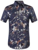 SSLR Men's Floral Button Down Regular Fit Casual Short Sleeve Shirt