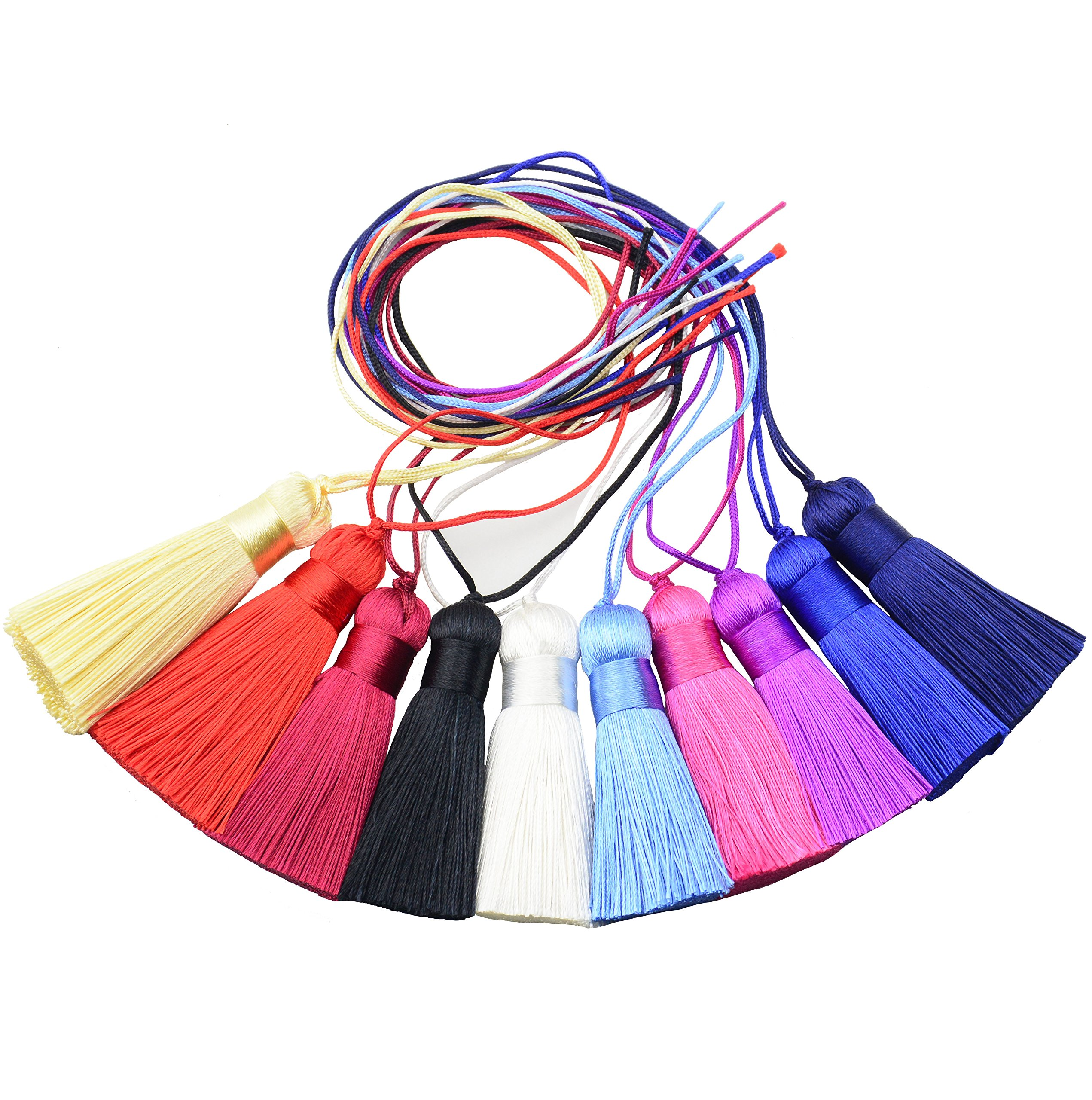 10pc 25cm/9.8 inch Cute Chunky Tassels Soft Elegant Handmade Silky Floss Tassels with 2.75 Inch Cord Loop and Chinese Knot for Woman Earrings, Jewelry Making, Souvenir, (Multi-Color) (Mixed1)