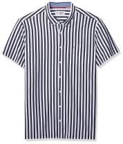 Original Penguin Men's Big and Tall Short Sleeve Vertical Stripe Button-Down Shirt, Dark Sapphire