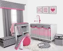Bacati - Love 10 pc Crib Set 100 Percent Cotton Percale Fabrics, Black/Fuschia Girls (10 pc Crib Set with Long Side Crib Rail Guard)