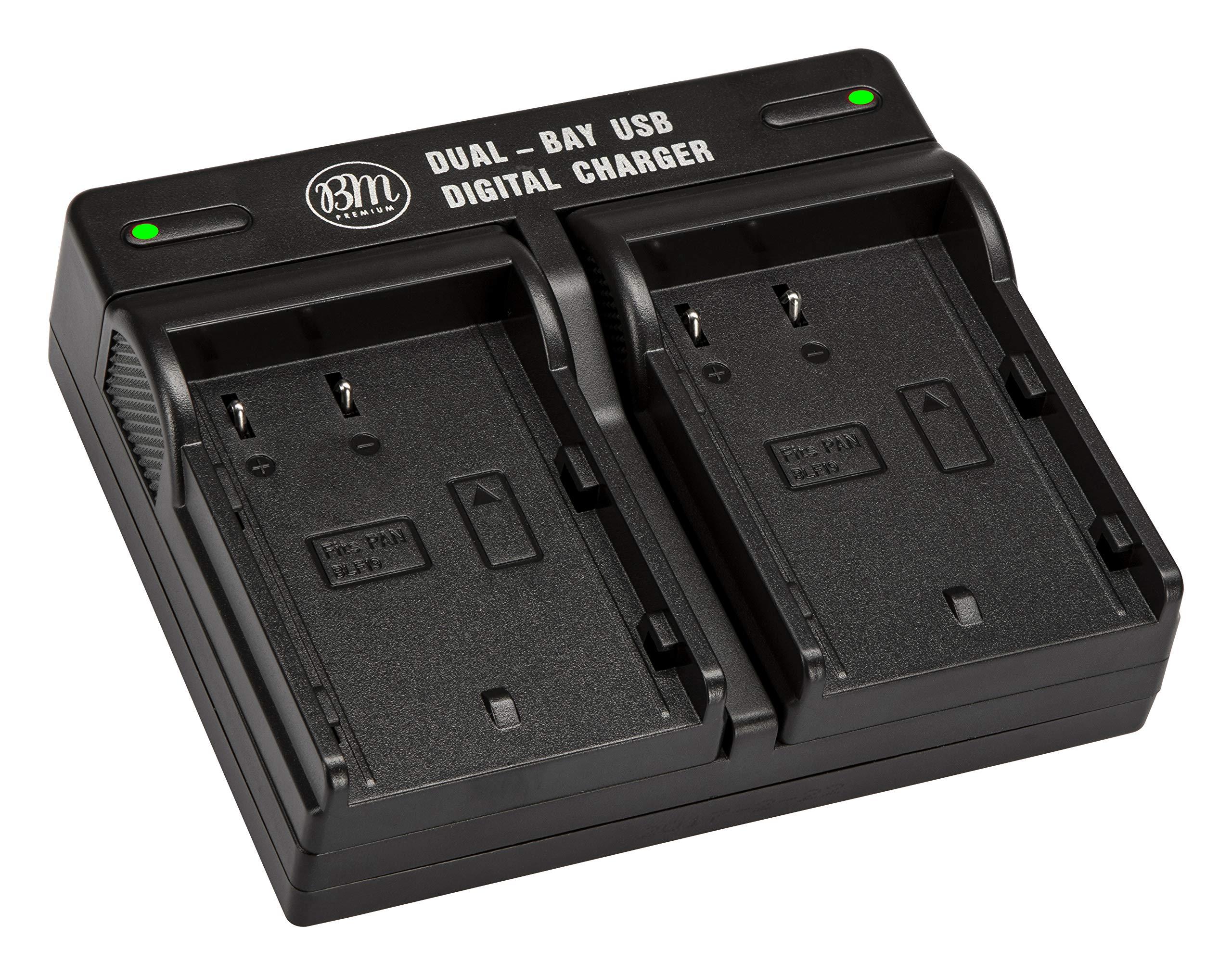 BM Premium DMW-BLF19, DMW-BLF19e, DMW-BLF19PP Dual Battery Charger for Panasonic Lumix DC G9, DC-GH5, DMC-GH3, DMC-GH3K, DMC-GH4, DMC-GH4K Digital Camera