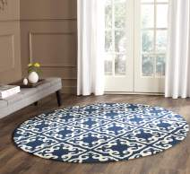 Safavieh Easy to Care Collection EZC416A Hand-Hooked Navy and Ivory Round Area Rug (6' Diameter)