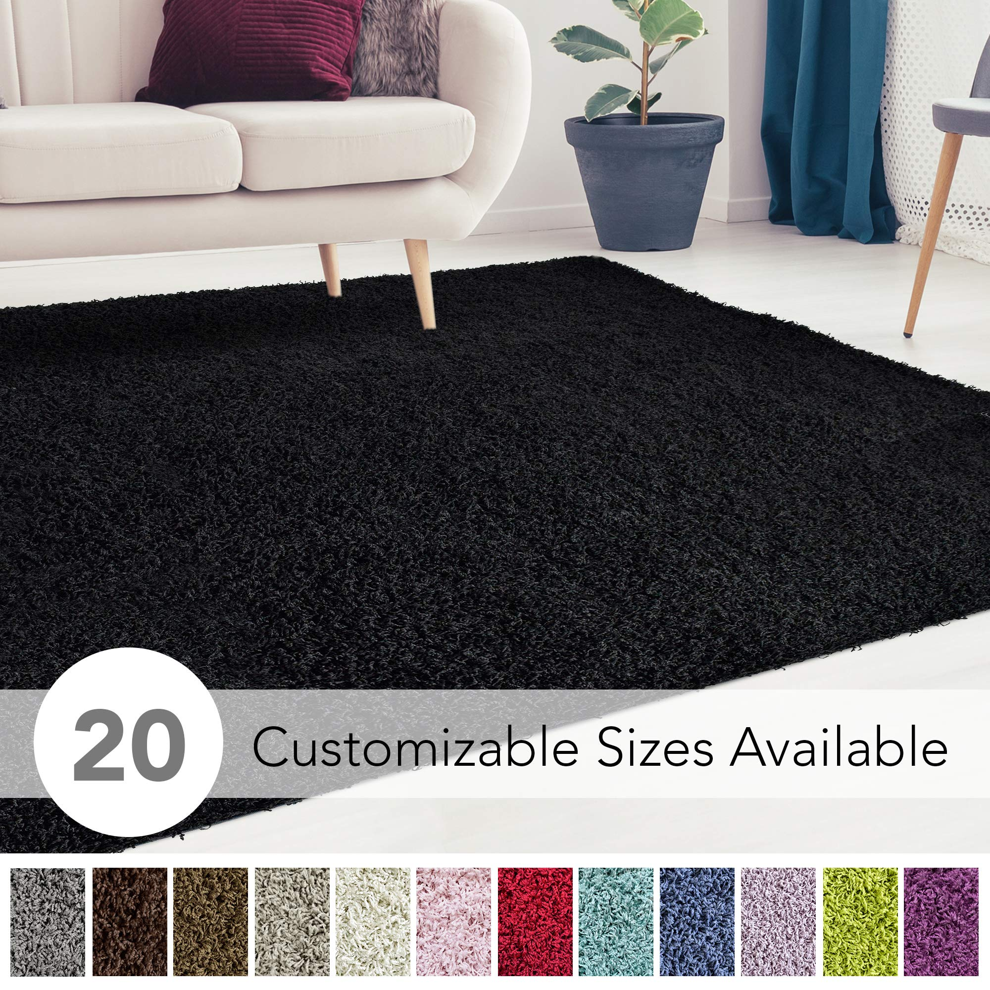 iCustomRug Cozy and Super Soft Plush Solid Shag Rug Ideal to Enhance Your Living Room and Bedroom Decor in 16 Colors / 20 Custom Sizes 4' X 6' Black
