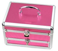 Reme Makeup Train Case Cosmetic Organizer Case With Trays and Drawer for Cosmetics,Jewelry Box or Gift Box,Rose Red