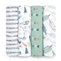 Aden by aden + anais Swaddle Blanket, Muslin Blankets for Girls & Boys, Baby Receiving Swaddles, Ideal Newborn Gifts, Unisex Infant Shower Items, Toddler Gift, Wearable Swaddling Set, 4 Pk, Dinotime