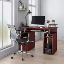 "Techni Mobili RTA-8211-M615 Complete Computer Workstation Desk With Storage, Mahogany, 48"" W x 22"" D x 34"" H"