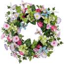 Valery Madelyn 24 Inch Spring Wreath with Colorful Morning Glory, Butterfly and Green Leaves for Mother's Day, Wedding, Front Door, Wall and Home Decoration