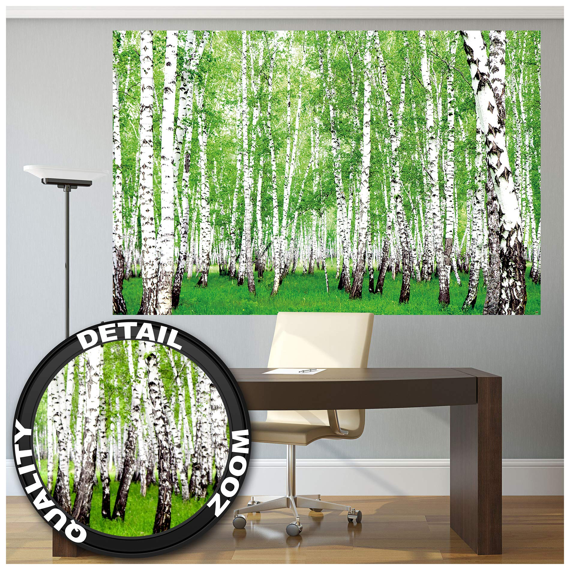GREAT ART Poster – Birch Forest – Picture Decoration Outdoor Landscape Country Trees Green Woodland Summer Glade Walkway Garden Park Image Photo Decor Wall Mural (55x39.4in - 140x100cm)