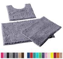 LuxUrux Bathroom Rugs 3pc Non-Slip Shaggy Chenille Bathroom Mat Set, Includes U-Shaped Contour Toilet Mat, 20 x 30'' and 16 x 24'' Bath Mat, Machine Washable (3 Pc Set - Style A, Dark Grey)