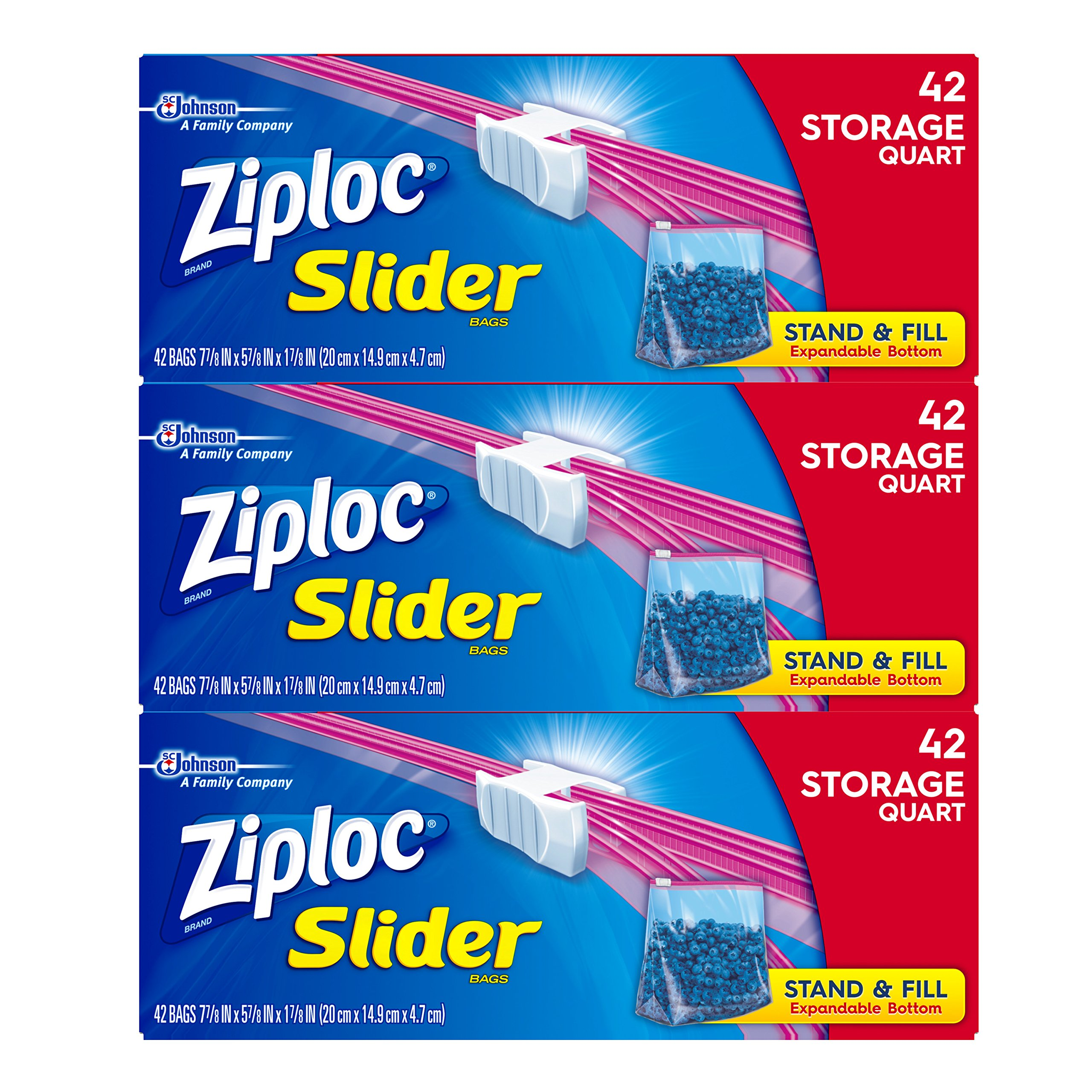Ziploc Slider Storage Bags with New Power Shield Technology, For Food, Sandwich, Organization and More, Quart, 42 Count, Pack of 3 (126 Total Bags)