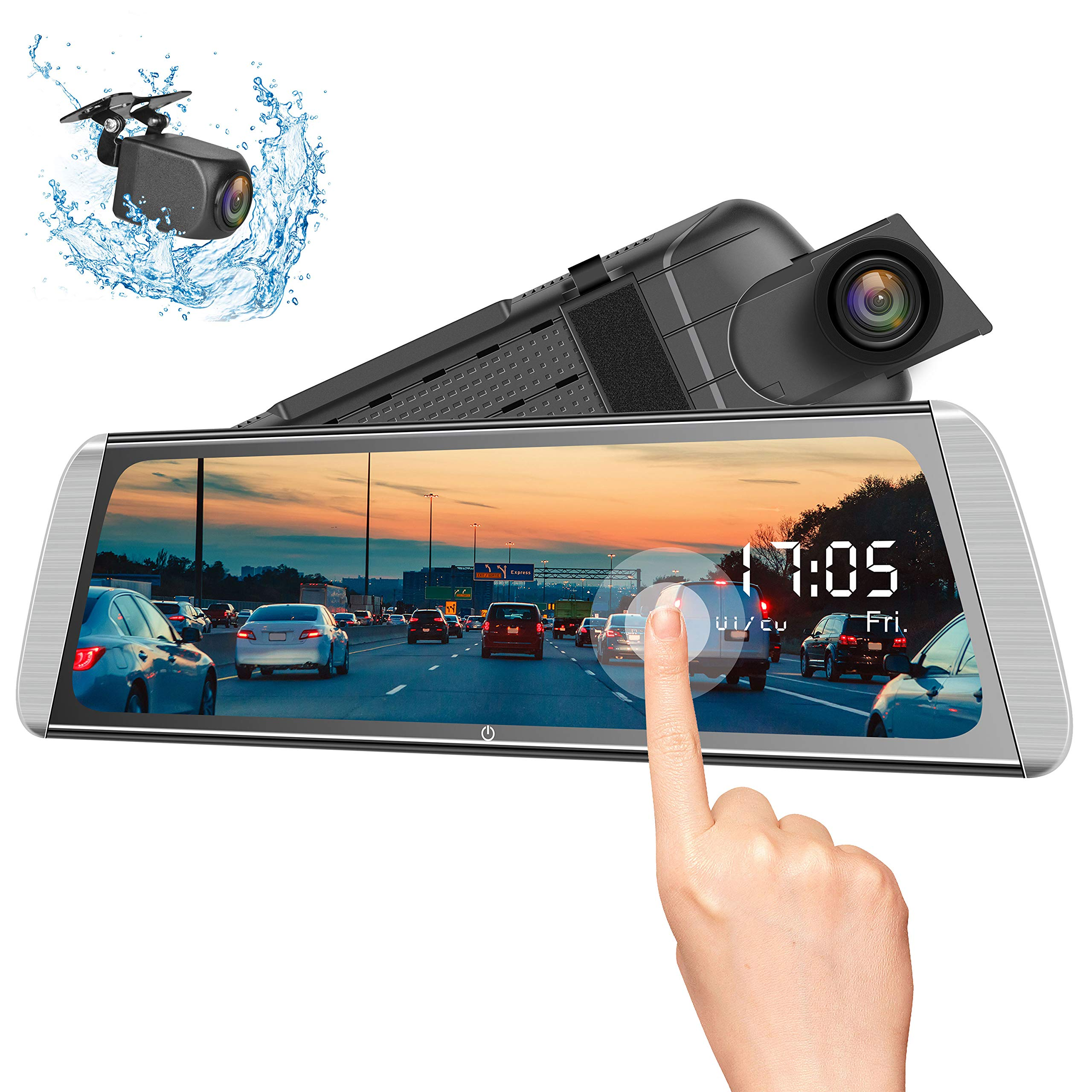 Campark Mirror Dash Cam 10 Inches 1080P Touch Screen Rear View Camera for Car Video Streaming with Enhanced Night Vision Parking Assistance