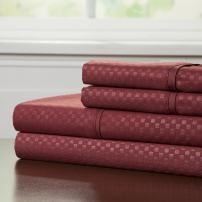 Brushed Microfiber Sheets Set- 4 Piece Hypoallergenic Bed Linens with Deep Pocket Fitted Sheet and Embossed Design by Lavish Home (Burgundy, King)