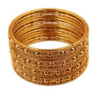 "Touchstone ""Golden Bangle Collection Indian Bollywood Ethnic Filigree with Modern Twist Charming Look Thick Designer Jewelry Bangle Bracelets Set of for Women in Antique Gold Tone."