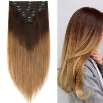 """S-noilite Thicken Long Soft Clip in Human Hair Extensions Double Weft 8pcs 150grams/pack for Full Head 20"""" 100% Real Clips Human Hair Extension Dark Brown Ombre to Light Brown #T2/6"""