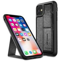 Amber & Ash Strap Stand Case for iPhone 11 (6.1in) - Vertical and Horizontal Kickstand - Hand Grip - Reinforced Drop Protection - Flexible TPU - Matte Black
