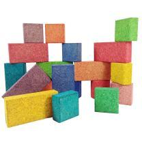 ECR4Kids KORXX Eco-Blox with Storage Container - Cork Building Block Set for Kids (38-Piece Kit)