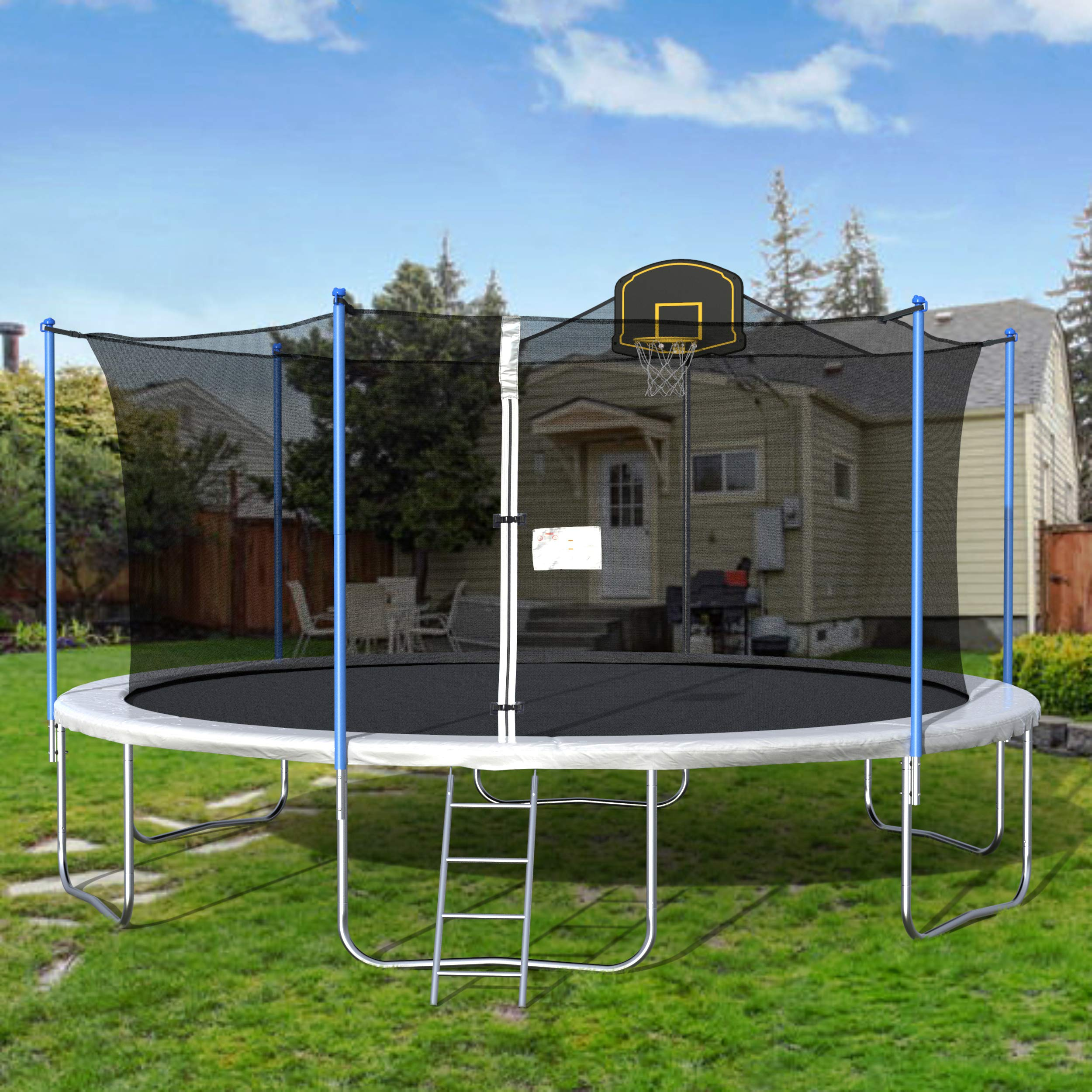 SIRUITON 14 feet / 15 feet / 16 feet Trampoline, Children 's Trampoline, Spring Jumping Ladder with Safety net, Family Outdoor Entertainment and Leisure Trampoline, Multi-Color Optional