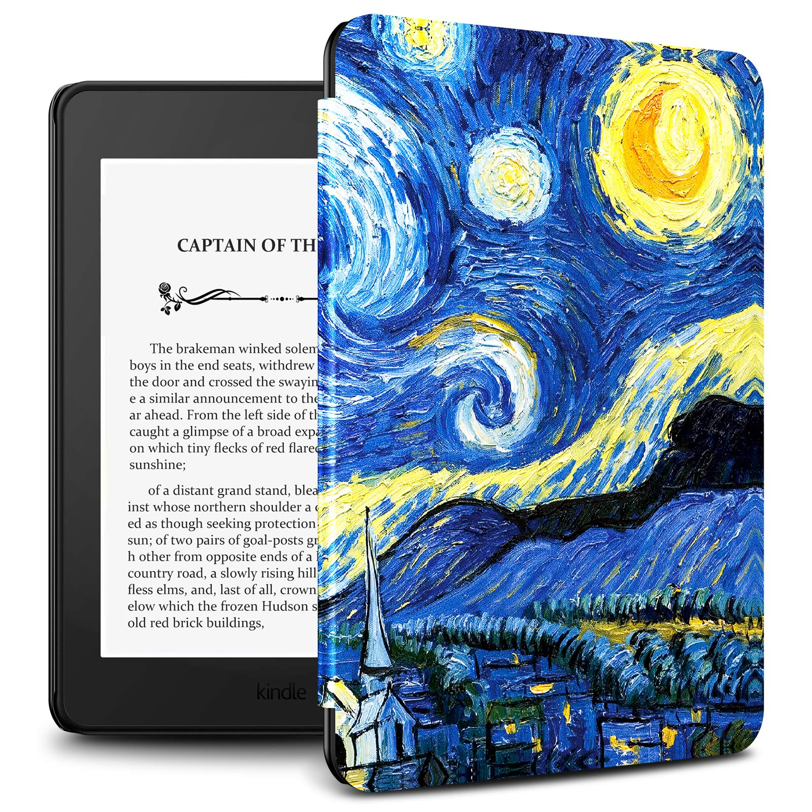 Infiland Kindle Paperwhite 2018 Case Compatible with Amazon Kindle Paperwhite 10th Generation 6 inches 2018 Release(Auto Wake/Sleep),Starry Night