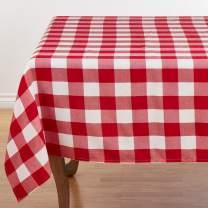 """SARO LIFESTYLE Cotton Blend Buffalo Plaid Tablecloth, 70"""", Red/White"""