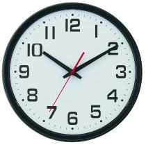 "Tempus Wide Profile Wall Clock with Dual Electric/Battery Operation and Daylight Saving Time Auto-Adjust Movement, 13.75"", Black"