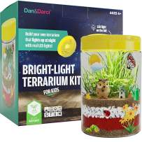 Dan&Darci Bright-Light Terrarium Kit for Kids with LED Light on Lid - Build Your Own Terrarium That Lights Up at Night with Real LED Lights : Great Science Kits Gifts for Children - Kids Toys
