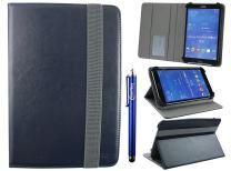Emartbuy Universal 7-8 Inch Midnight Blue Multi Angle Folio Wallet Case Cover with Card Slots Grey Elastic Strap and Stylus Pen Compatible with Selected Devices Listed Below