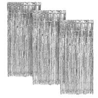 Silver FOIL Fringe Curtain | Metallic Shimmering Tinsel Decoration | Great for Party Décor, Photo Backdrops and More | Easy Installation | 3' x 8' | 3 pc