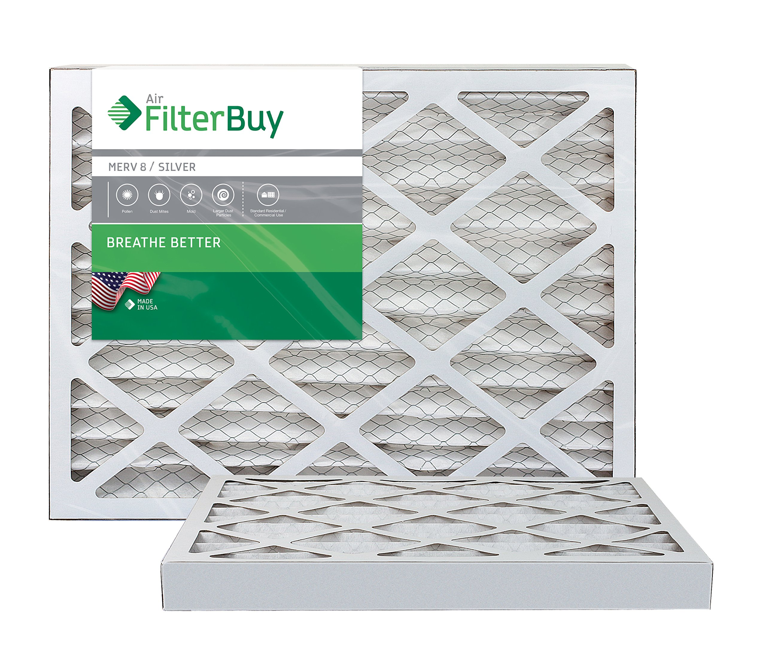 FilterBuy 12x12x2 MERV 8 Pleated AC Furnace Air Filter, (Pack of 2 Filters), 12x12x2 – Silver